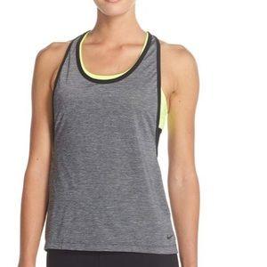 EUC Nike 2 in 1 Dri-Fit Top, Neon Yellow & Gray